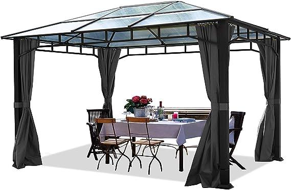 TOOLPORT Cenador de jardín 3x4m Impermeable ALU Deluxe Techo de policarbonato Pabellón 8mm Cenador 4 Lados Carpa ...