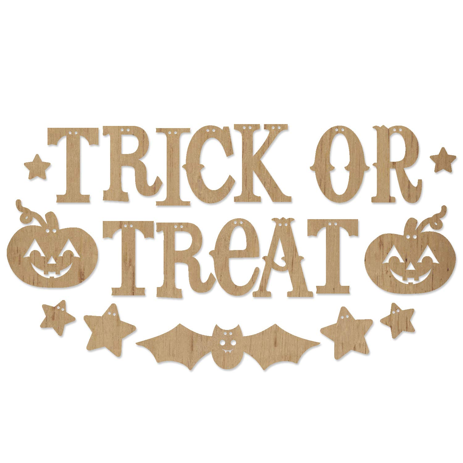 ADORNit DIY Wood Swag Banner Hanger - Trick or Treat