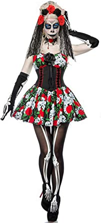 Forever Young Ladies Day of The Dead Fancy Dress Sugar Skull ...