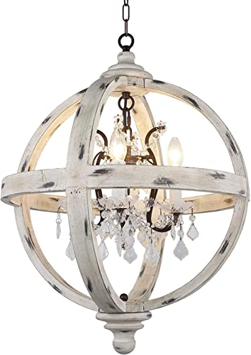 Decomust Farmhouse 4 Light Candle Style Globe Clear Glass Crystals in Withered White Wood Finish Orb Chandelier Wood Finish Antique Metal Crystal Inside White