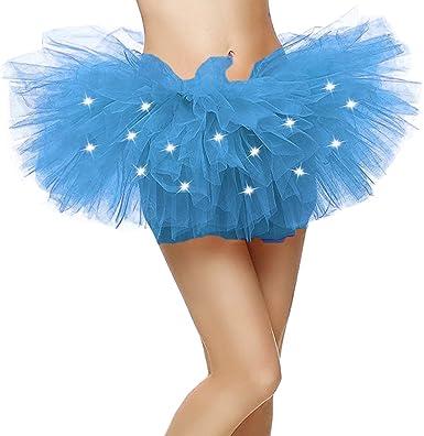 fa6aa65c81f0 Comall Damen 5 Lagen LED Mini Tüll Tütü Rock Kostüm Party Tanz Abnutzungs  Ballkleid Petticoat Unterrock