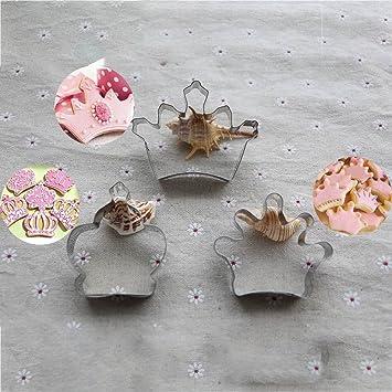 Gessppo_Cake Mold Juego de 3 moldes de acero inoxidable para tartas, corona de princesa, molde para galletas, accesorio para hornear y hacer galletas: ...