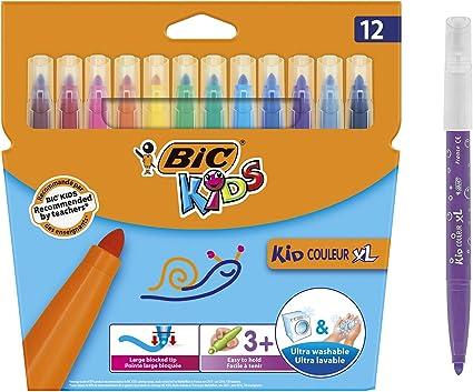 BIC Kids Kid Couleur XL rotuladores Punta Ancha - colores Surtidos, Caja de 12 unidades: Amazon.es: Oficina y papelería