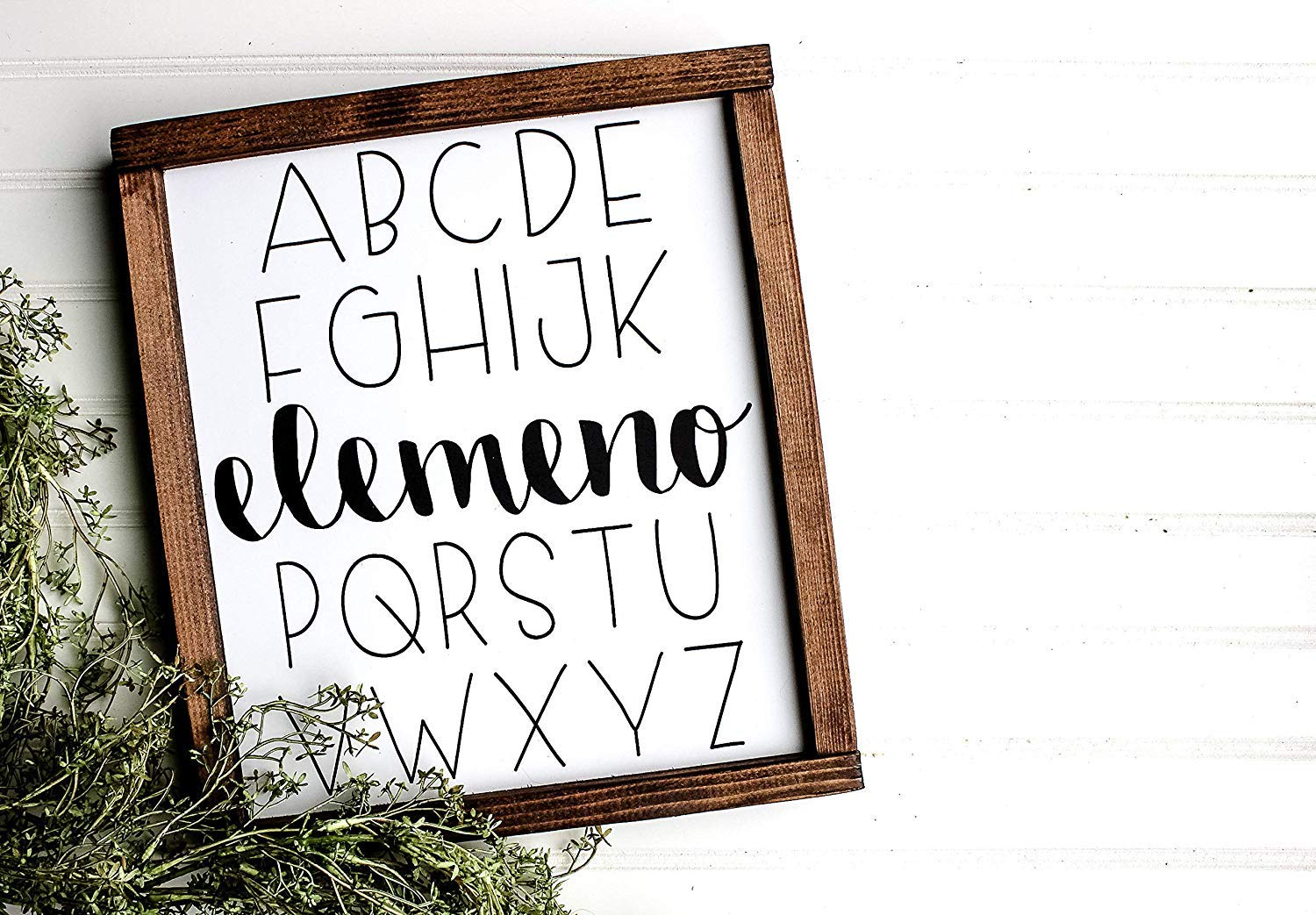 Alphabet Wood Sign Elemeno Neutral Nursery Decor ABCs Sign Nursery Sign Nursery Decor Custom Signs Wood Sign Baby by Framed Sign