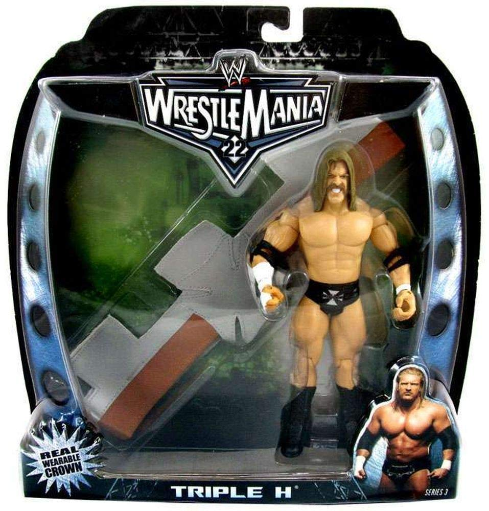 WWE Wrestlemania 22 Triple H 7 inch Figure and Real Wearable Crown Head Band Series 3