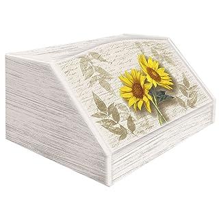 Lupia Caja para Pan, Estilo Rústico, Diseño de 2 Girasoles, en Madera, 30 x 40 x 20 cm Estilo Rústico Diseño de 2 Girasoles Lupia s.r.l. 8016123080081