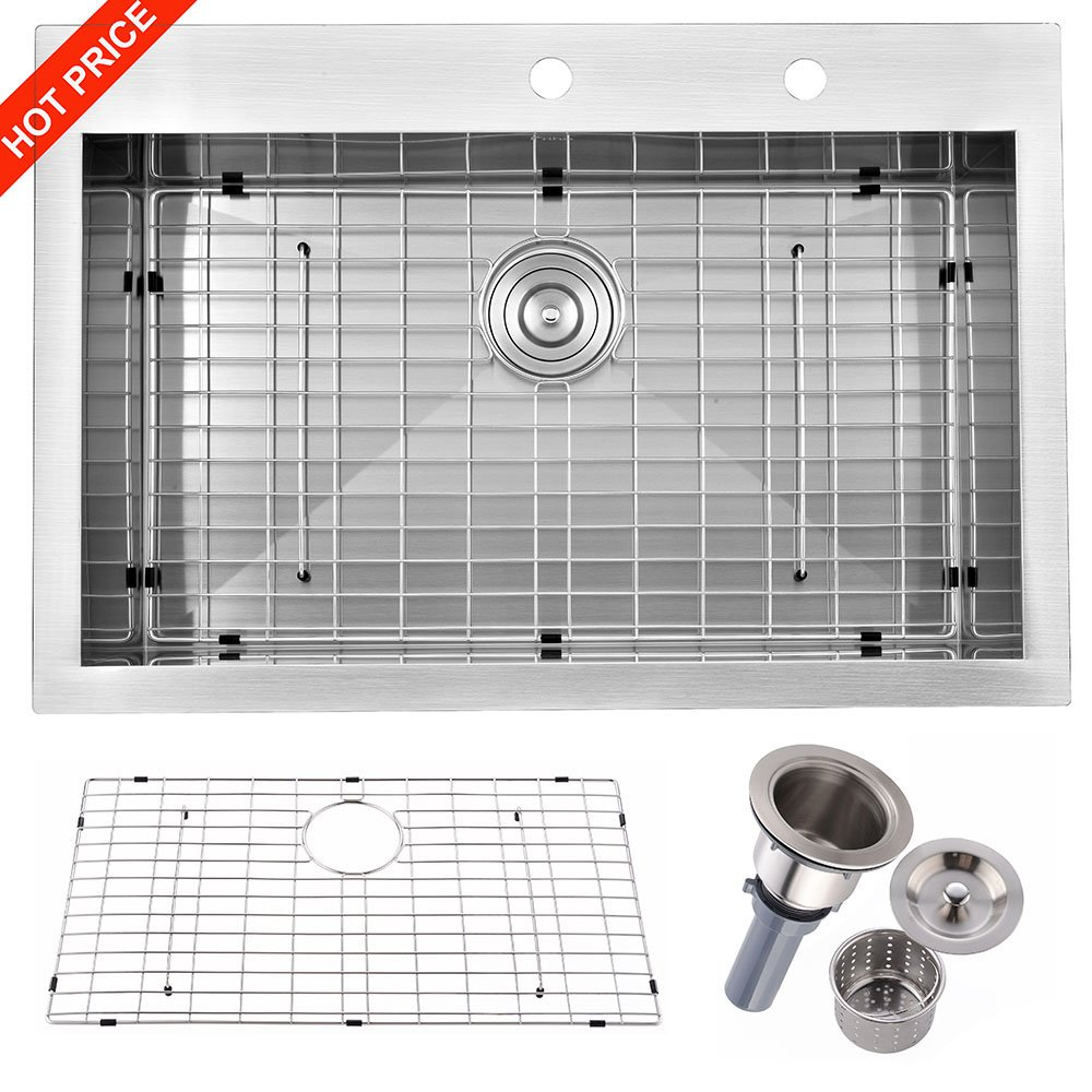 "Friho 33""x 22"" Inch 18 Gauge Commercial Large Topmount Drop-in Single Bowl Basin Handmade SUS304 Stainless Steel Kitchen Sink,Brushed Nickel Kitchen Sinks With Dish Grid and Basket Strainer"