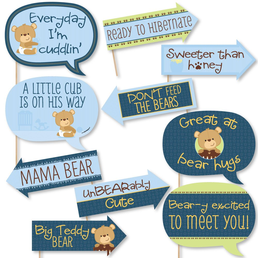 Funny Baby Boy Teddy Bear - Baby Shower Photo Booth Props Kit - 10 Piece
