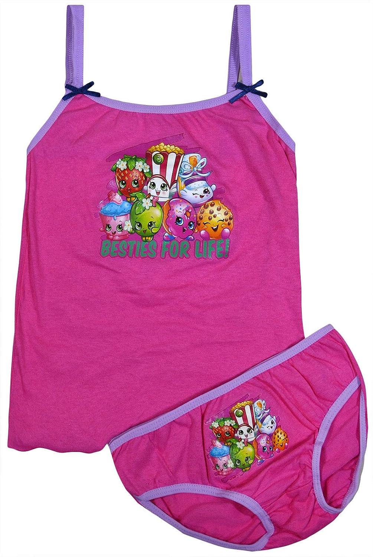 JollyRascals Girls Vest Top Briefs PJ Set Kids New Shopkins Sleepwear 2 Pack Underwear Pink Blue Pyjamas Age 2 3 4 5 6 8 Years