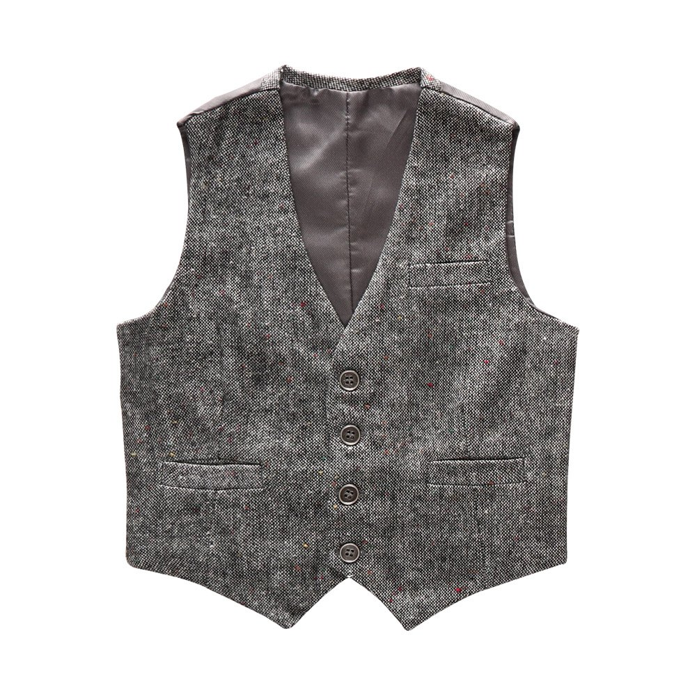 Boys' Girls' Top Design Casual Waistcoat Pockets Buttons V Collar Vests Grey Size 4T