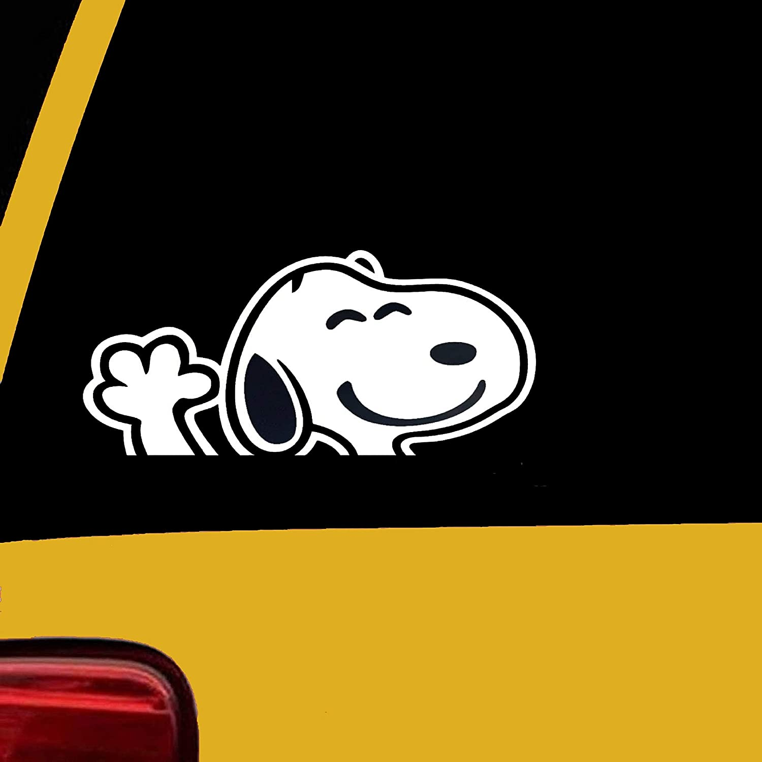 Rainbow Animated Design Snoopy Waving Decal Vinyl Sticker Graphics for Cars Trucks SUV Vans Walls Windows Laptop 5.5 Inches White