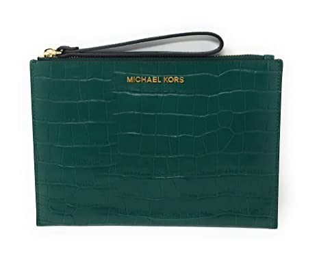 2f7d65dd8c Image Unavailable. Image not available for. Color  Michael Kors Jet Set  Travel Embossed Leather XL Zip Clutch ...