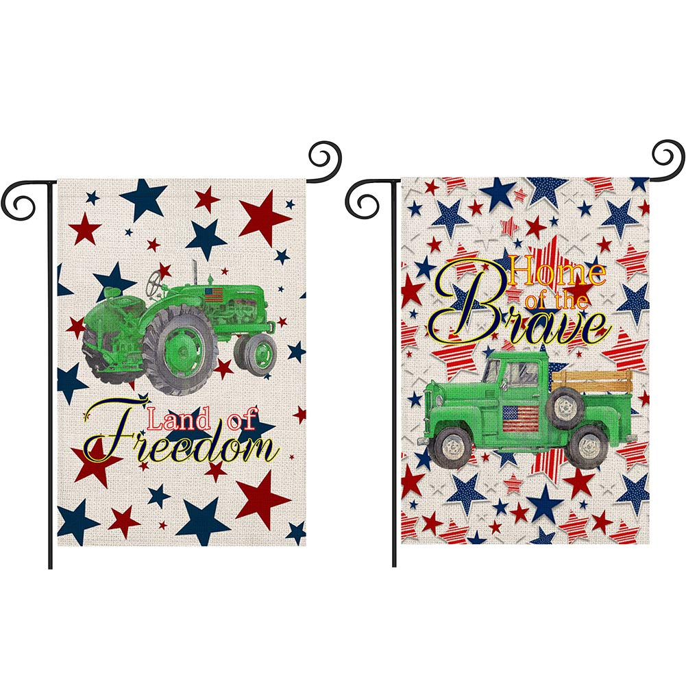 Qinqingo 2 Pack Independence Day Decorative Garden Flag Double Sided Burlap Farm Tractor Truck Yard Lawn Outdoor Decoration Land of Freedom/Home of The Brave America Patriotic Rustic Outdoor Flags 12.5 x 18 Inch (July 4)