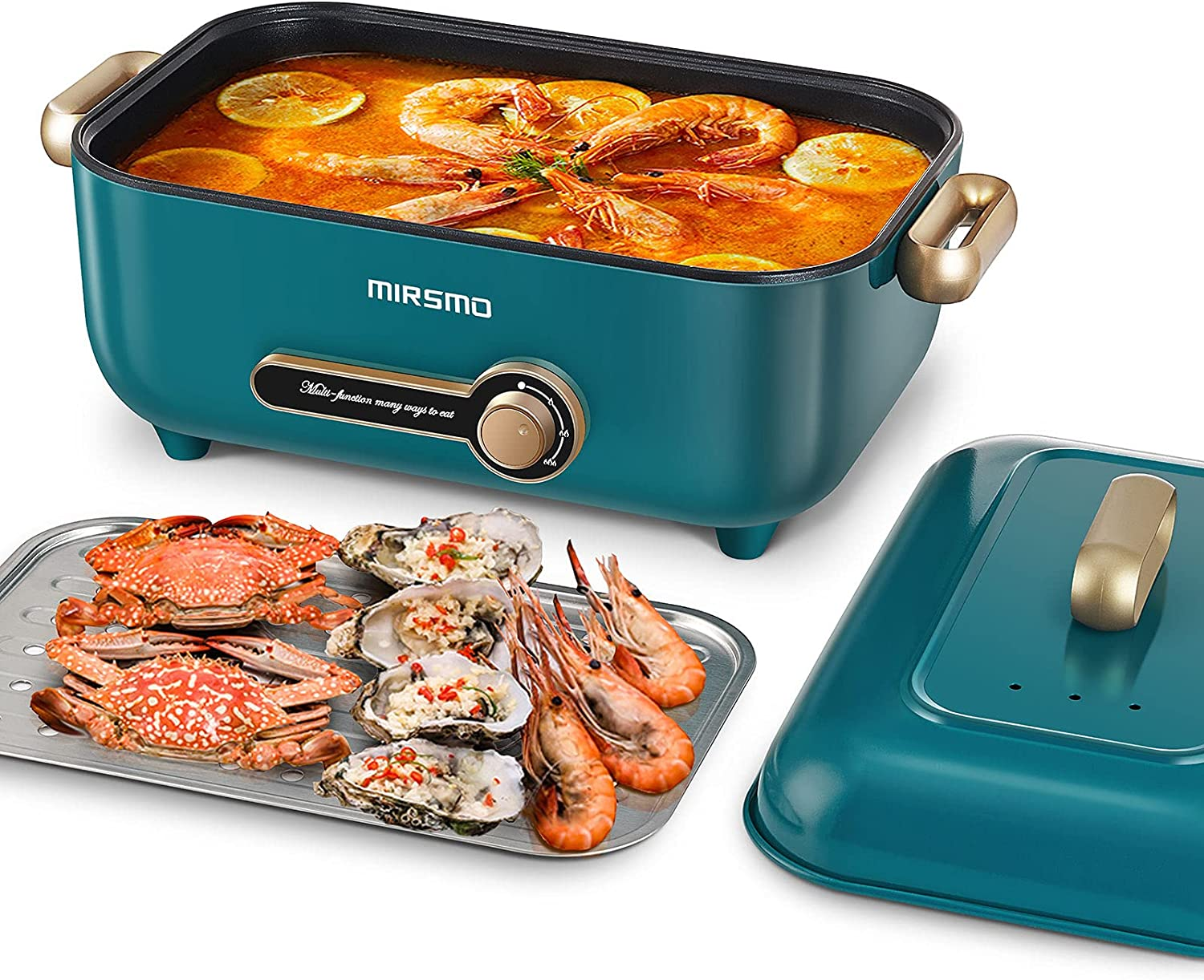 Mirsmo Electric Hot Pot 4L with Stainless Steel Steaming Rack, 3 Temperature Control Multifunction Food Steamer, 3.4-inch Nonstick Electric Skillet for Sauté, Stew and Grill, Deep Electric Frying Pan