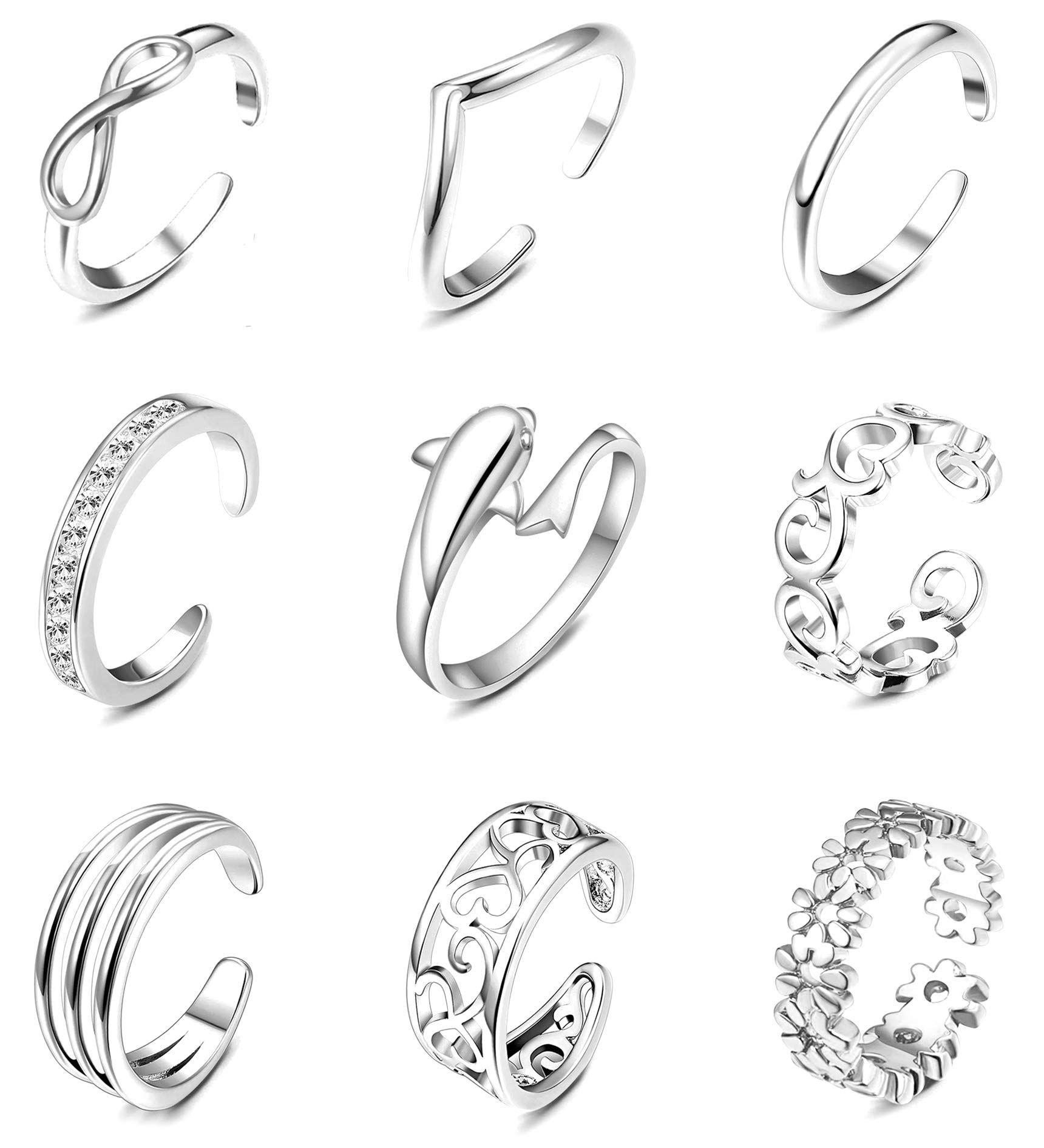 9PCS Adjustable Toe Ring for Women Girls Open Tail Ring Flower Knot Simple Toe Ring Gifts Jewelry Set