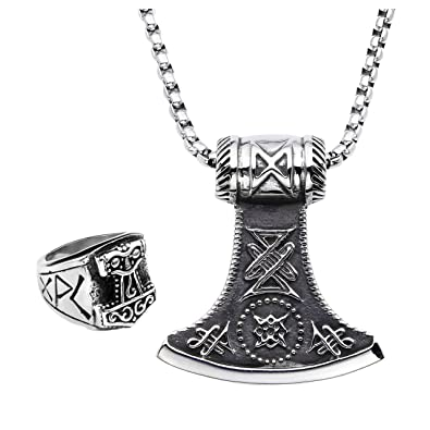 Piercingj mens stainless steel viking thors hammer celtic knot all piercingj mens stainless steel viking thors hammer celtic knot all seeing eye pendant necklace ring 24 mozeypictures Images