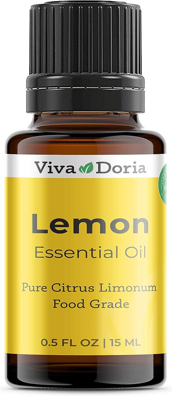 Viva Doria 100% Pure Lemon Essential Oil, Undiluted, Food Grade, Southwest USA Lemon Oil, 15 mL (0.5 Fl Oz)