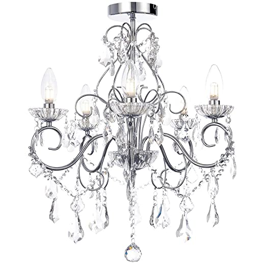 Vara Bathroom Chandelier Curved Arm Ceiling Light IP Rated Clear - Chrome 5 light bathroom fixture