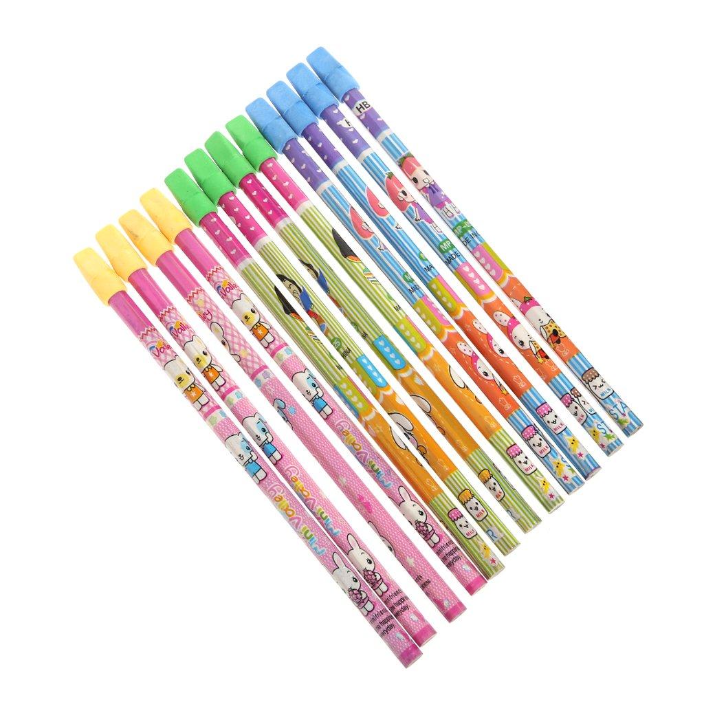 Loegrie Lot de 12enfants Crayons à papier HB avec taille-crayon gratuit Student Maman l'école papeterie Logres