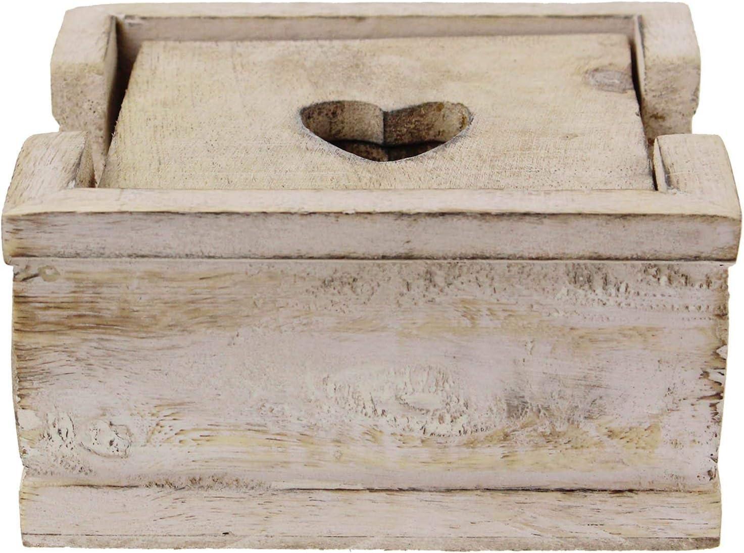 Provence Collection Set di sottobicchieri a forma di cuore in stile shabby chic 15,2 cm