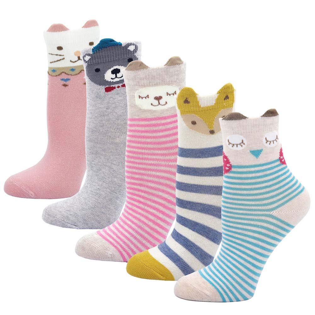 LOFIR chaussettes en coton pour enfants, chaussettes mignons d'animaux, chaussettes en coton...