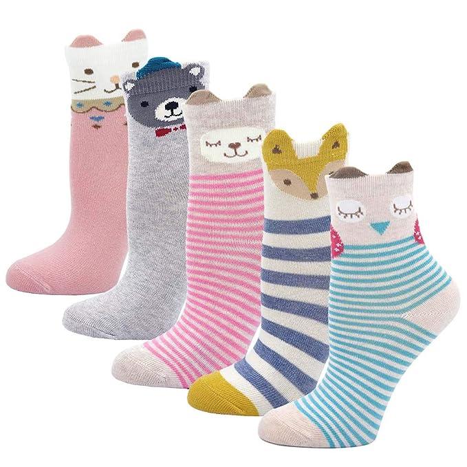 LOFIR Calcetines de algodón para niños Calcetines de dibujos animados de animales lindos Calcetines de la