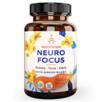 Brain Booster Supplement Nootropics - Neuro Focus for Brain Health, Memory, Clarity, Focus Factor, Stress Relief, Anxiety with Gingko Biloba, Bacopa Monnieri, St. Johns Wort - 30 Brain Food Capsules