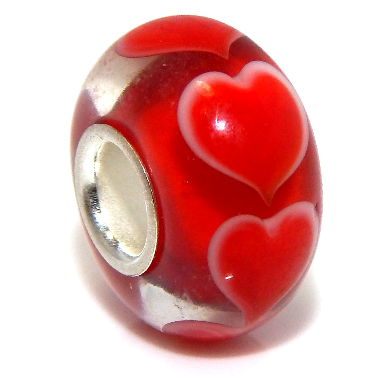 Pro Jewelry .925 Sterling Silver Glass ''Red/White Hearts'' Charm Bead for Snake Chain Charm Bracelet 5024