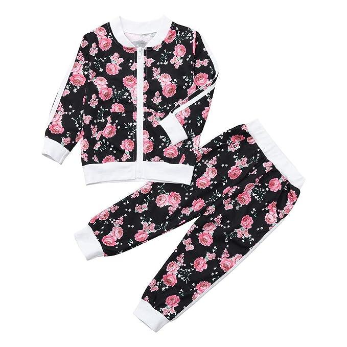 Traje Deportivo de Moda Bebé, LANSKIRT Mebé Niño Niña Sudadera con Capucha Floral Jersey Tops + Pantalones Ropa de Conjunto: Amazon.es: Ropa y accesorios