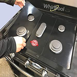 Whirlpool Stove Protector Liners - Stove Top Protector for Whirlpool Gas Ranges - Customized - Easy Cleaning Stove Liners for Whirlpool Model WGG745S0FS00