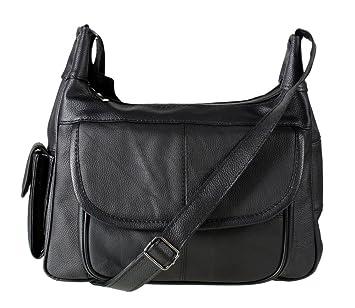 Italian Leather Ladies Handbag Black Soft Leather Shoulder Bag 7473
