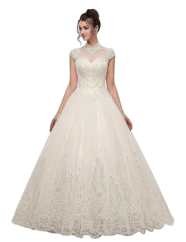Onlybridal Womens Wedding Dress Lace Tulle Halter High Neck Ball