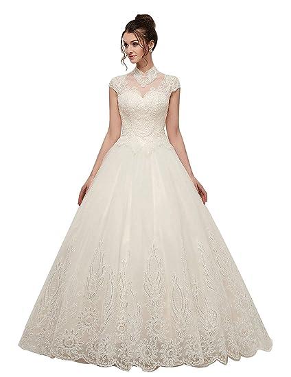 Onlybridal Women S Wedding Dress Lace Tulle Halter High Neck Ball