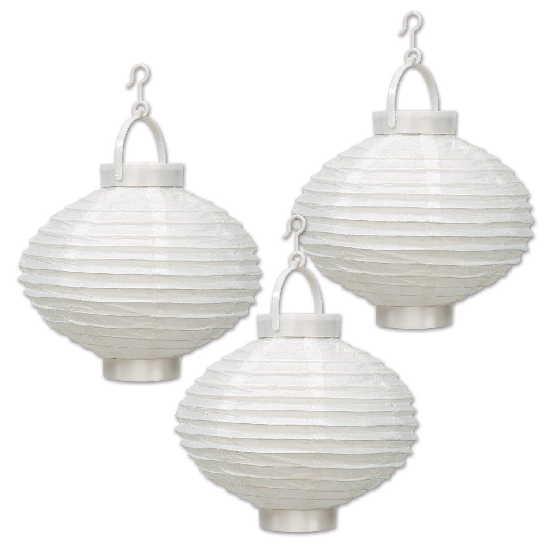 8-Inch White 54546-W Beistle Light-Up White Paper Lanterns
