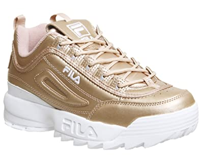 540f7855009a9 Fila Womens Metallic Rose Gold Disruptor II Premium Sneakers-UK 4