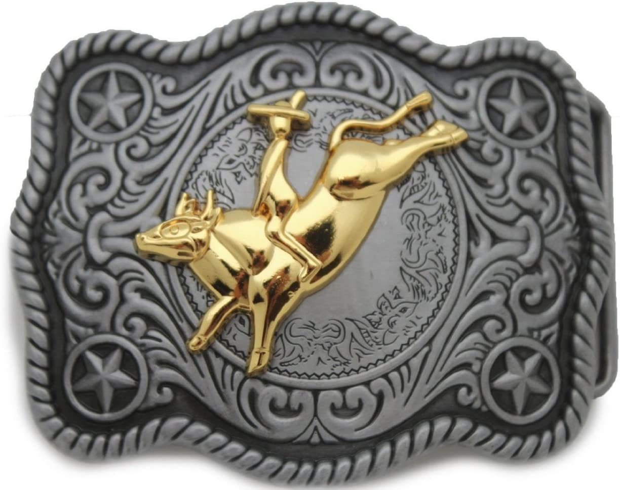 BULL RIDE ANIMAL RODEO COWBOY WESTERN GOLD AND GRAY BELT BUCKLE
