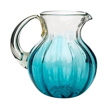 Amici Home 7MCR070R Rosa Pitcher Glass Serveware, 80 oz, Aqua