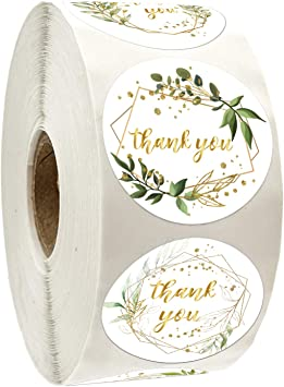 Amazon Com Thank You Stickers Roll Green Leaves With Golden Frames Thank You Stickers 1 4 Inch Adhesive Label Stickers 6 Different Designs Perfect For Birthday Wedding Favors Small Business 500 Per Pack Office Products