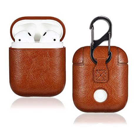best website 5bcfc f10f5 Leather Airpod Case for Airpods 2 and 1, ffomo AirPods Accessories Premium  Leather Protective Shockproof Case Cover (Support Wireless Charging) for ...