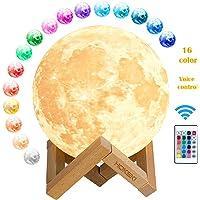 HOKEKI Lampe Lune 3D 16 Couleurs Télécommande Tactile USB Rechargeable Veilleuse avec Support en Bois lampe de décoration pour Noël Tout Festival meilleurs cadeaux Kid chambre décor lumières