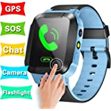 GBD Smart Watch Phone for Kids Girls Boys GPS Tracker Summer Sport Outdoor Birthday Gifts Travel Camping with Camera SIM Calls Anti-lost SOS Wristband Bracelet for iPhone Android Smartphone (Blue)