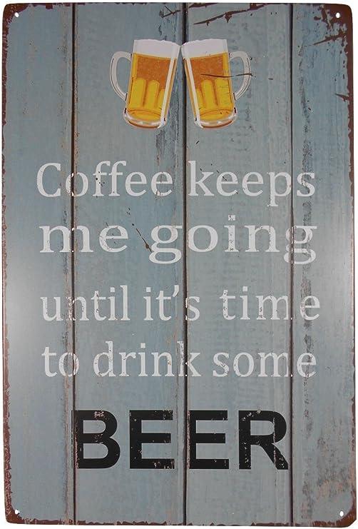 Amazon Com Strosportsandtech Coffee Until Beer Funny Tin Sign Bar Pub Garage Diner Cafe Home Wall Decor Home Decor Art Poster Retro Vintage Home Kitchen