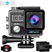 JinSun 4K Ultra HD WiFi Waterproof Sports & Action Camera with Batteries & Mounting Accessories