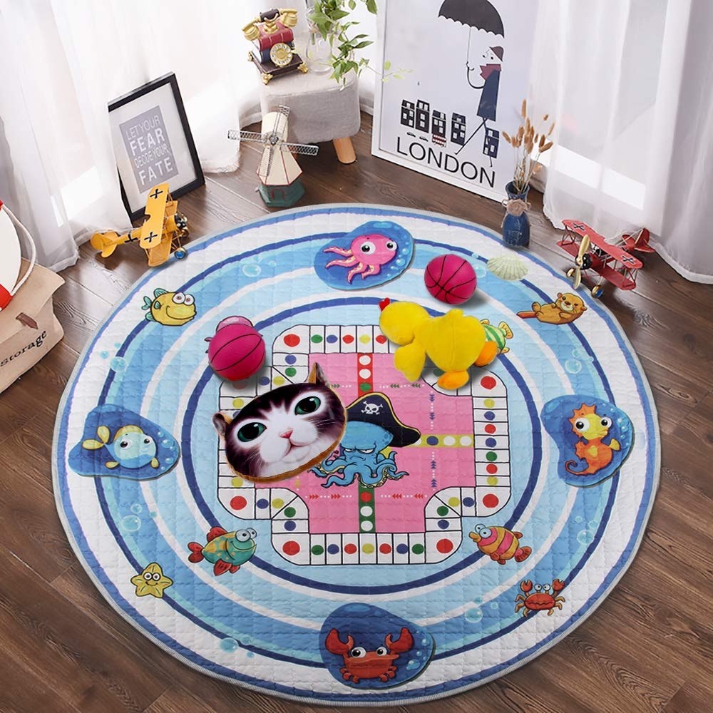 Winthome Baby Kids Play Mat Crawling Mat Round Washable Foldable Soft and Toys Storage Organizer Non-Slip Cotton Gym Play Mat with 59 inches