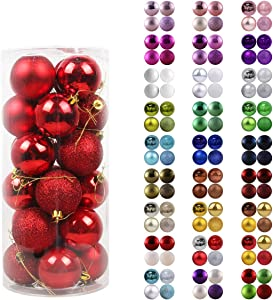 "GameXcel 24Pcs Christmas Balls Ornaments for Xmas Tree - Shatterproof Christmas Tree Decorations Large Hanging Ball Red 2.5"" x 24 Pack"