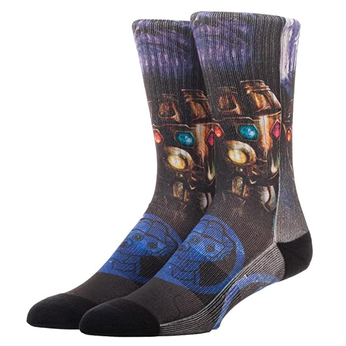 Infinity War Thanos Sublimated Socks, Avengers, Infinity War, Marvel Universe, MCU, Iron Man, Thor, Thanos, cosplay gear, action figures, Marvel items, Hulk, Spider Man, Captain America, Black Widow, Doctor Strange,