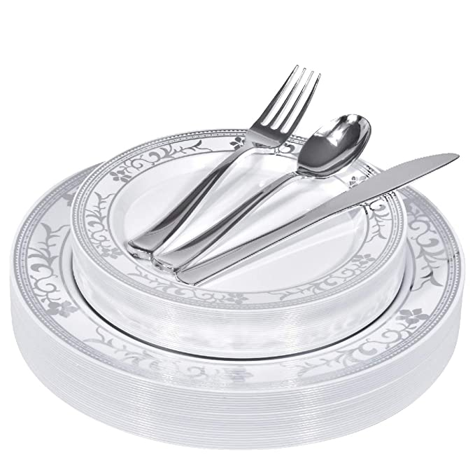 125 Piece Elegant Silver Floral Rim White Disposable Plates with Plastic Utensils - 25 Dinner Plates, 25 Appetizer Plates, 25 Silver Forks, 25 Silver Spoons, 25 Silver Knives (Silver Floral)
