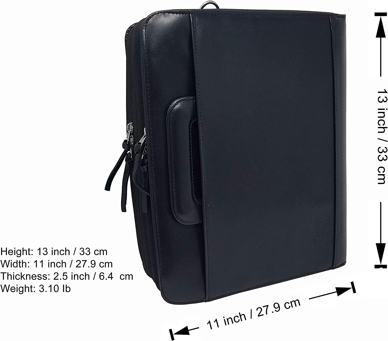 Folder File Divider Organizer Planner Trave Briefcase Portfolio w//Smart Handle /& Double Zippered Closure Padfolio 3-Ring Binders -DC3063 Upgraded-Faux Leather Black