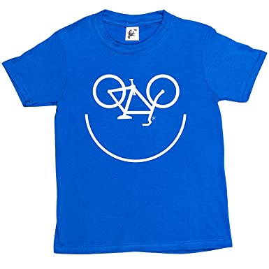 e24de2f4 Amazon.com: rydesignt Tee Smiley Face Cycle Cycling Bike Icon Kids Boys/Girls  T-Shirt: Clothing