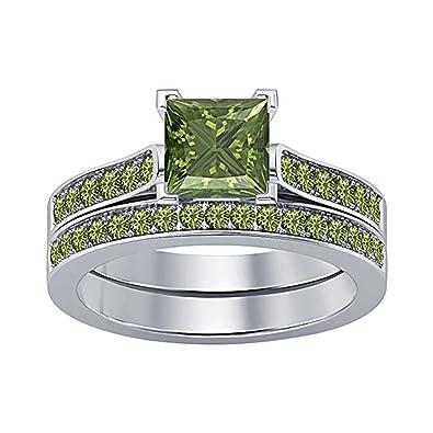 Amazon Com Women S Jewelry 2 75 Ct Princess Cut Created Peridot